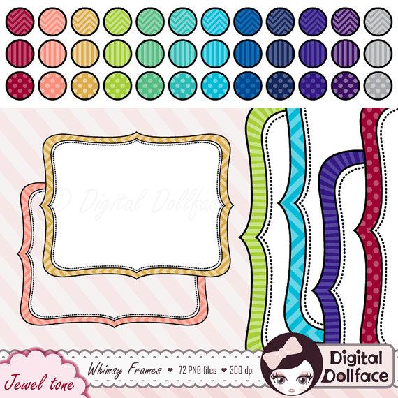 Whimsical Frame Clip Art, Colorful Bracket Frame Set, Digital.