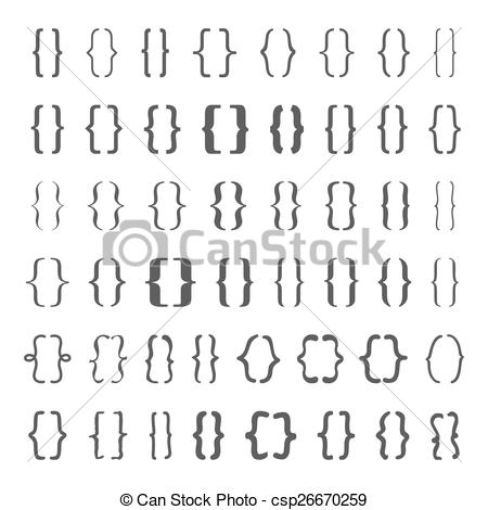 Clipart Vector of Set of vector braces or curly brackets icon.