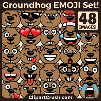 Groundhog's Day Emoji Clipart Faces / Cute by BRAD FITZPATRICK.