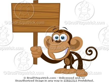 Need a Cartoon Monkey Holding a Wood Sign? See My Cartoon Monkey.
