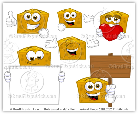 Cartoon Cheese Mascot Vector Pack Collection.