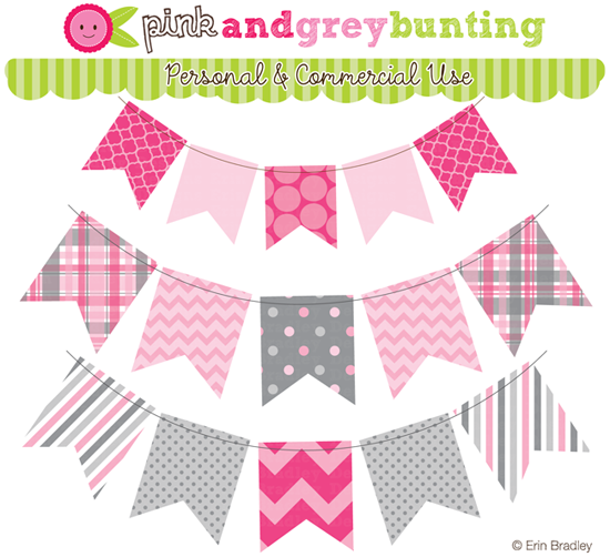 Erin Bradley Designs: NEW! Blue, Pink & Yellow (and Gray!) Bunting.
