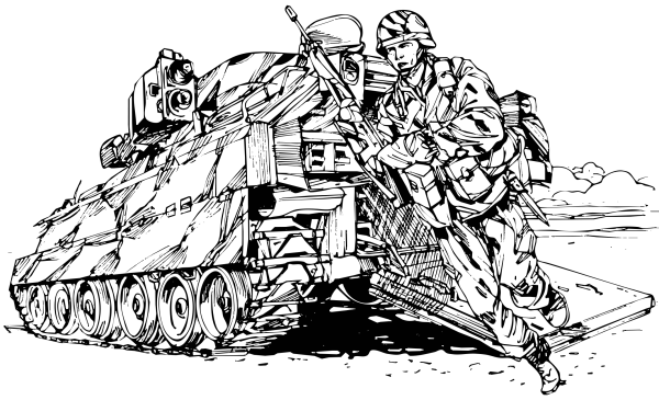 Bradley W Dismounting Soldier Clip Art Download.
