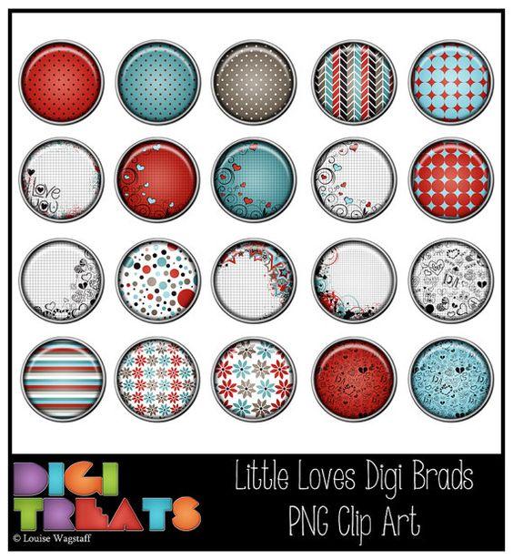 Little Loves, Digital Brads, PNG Clip Art, Scrapbooking, Card.