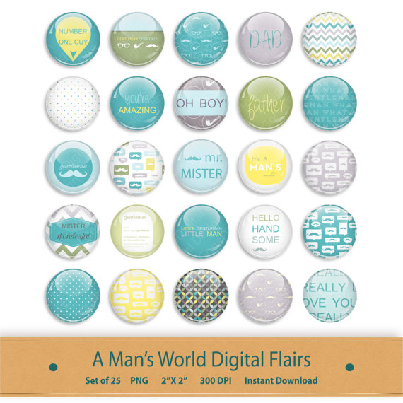 Scrapbook Flairs Brads Kit Graphics Clipart Printable Photo Button.