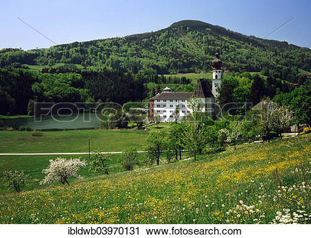 """Stock Photography of """"Former Hoglworth Abbey on a peninsula in."""