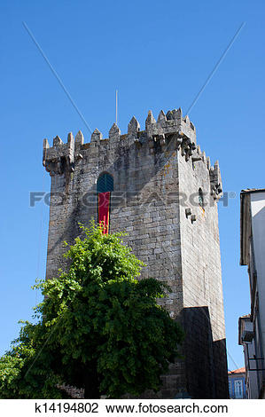 Stock Photo of Tower of castle of Braga k14194802.
