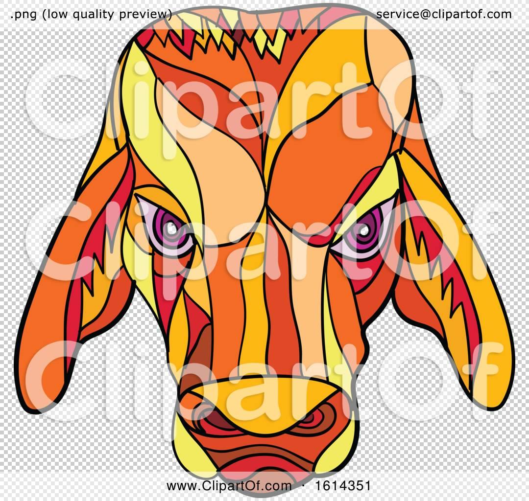 Clipart of a Low Polygon Brahma Bull Mascot Head.
