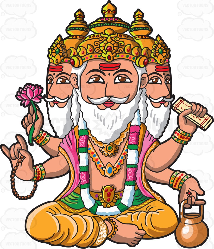 The God Brahma Cartoon Clipart.