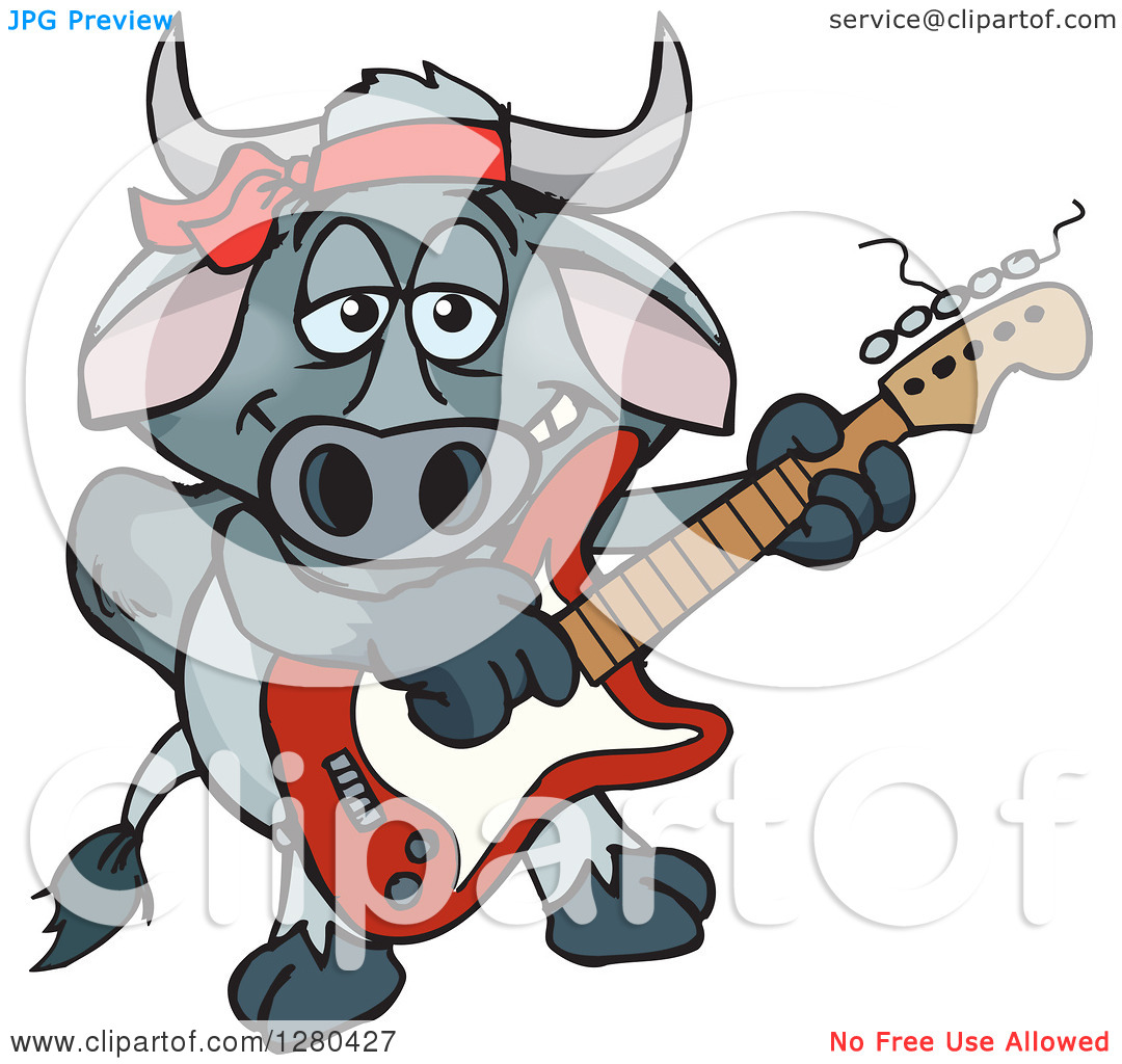 Clipart of a Happy Brahman Bull Playing an Electric Guitar.