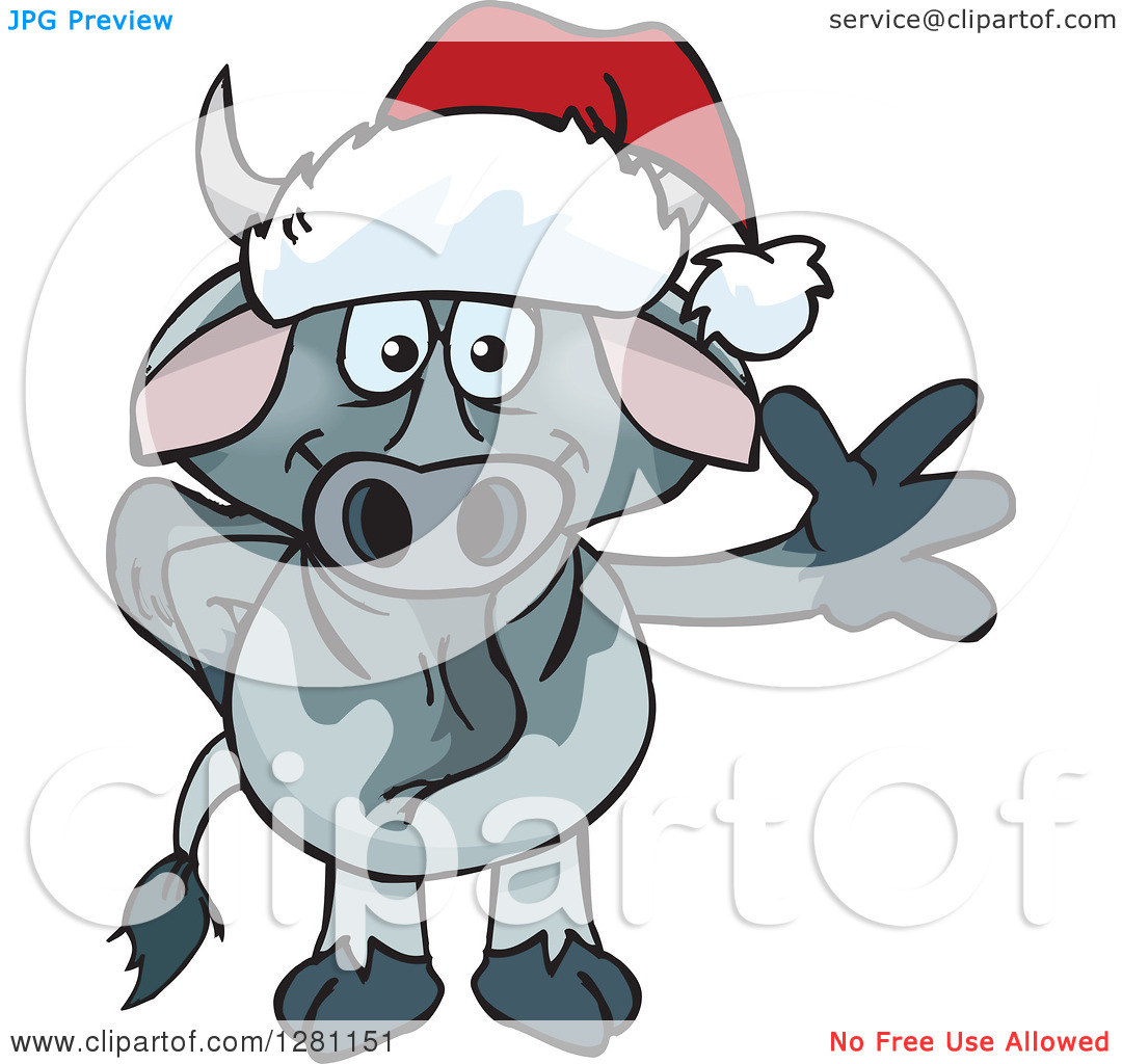Clipart of a Friendly Waving Brahman Bull Wearing a Christmas.