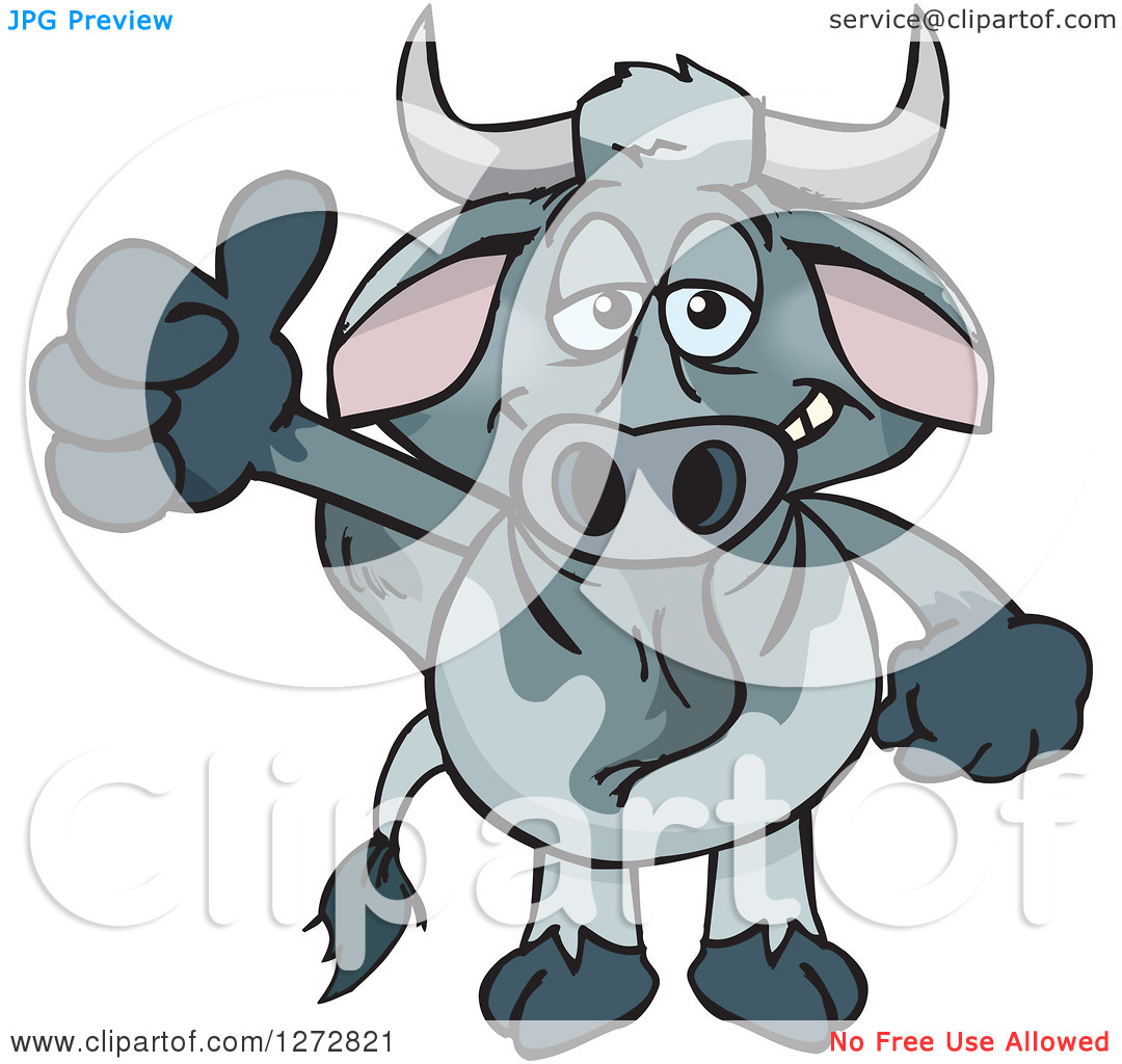 Clipart of a Happy Brahman Bull Giving a Thumb up.