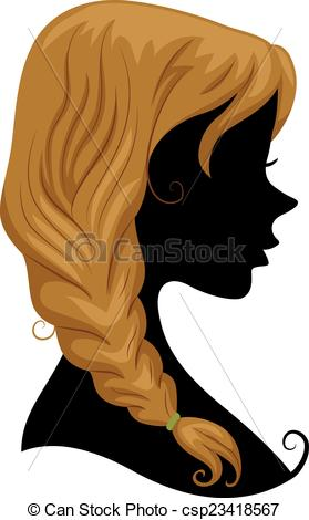 Silhouette braid clipart.