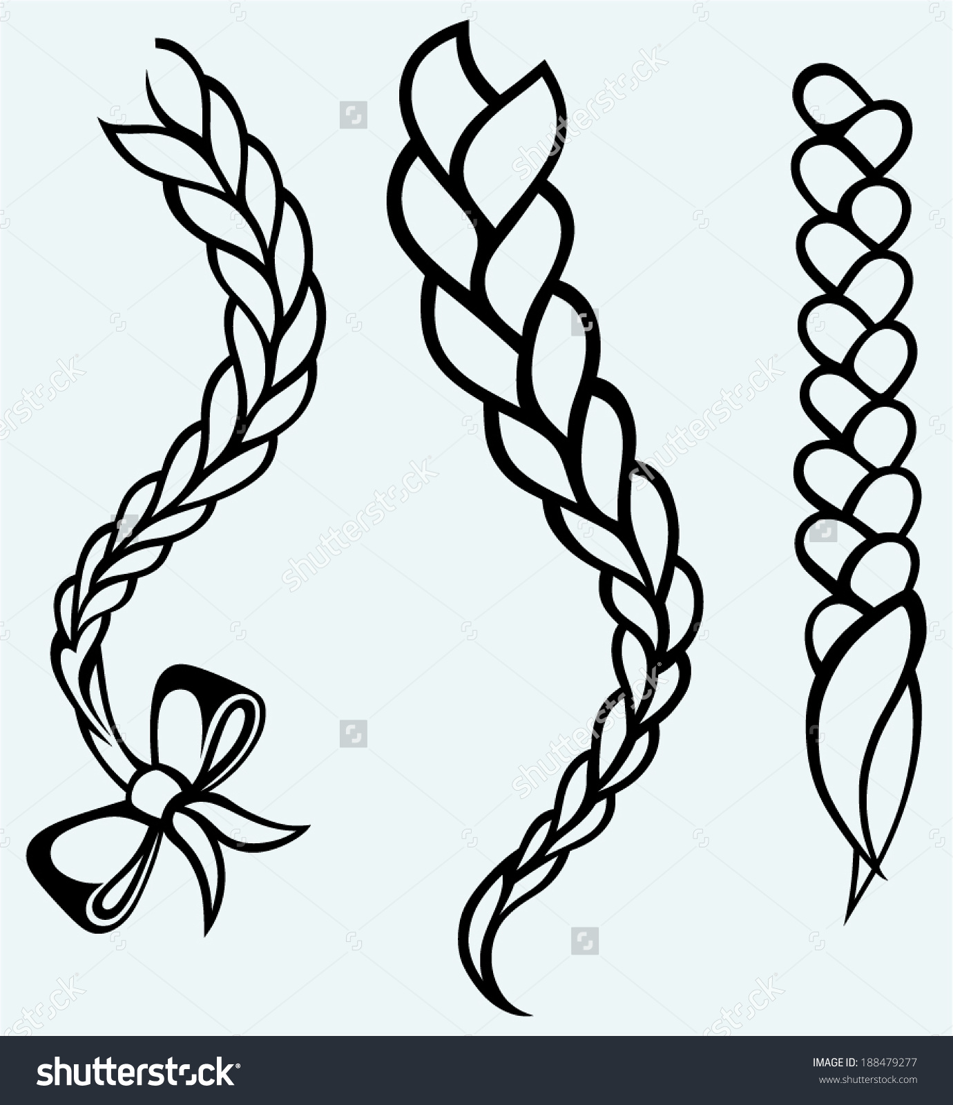Silhouette hair braid clipart.