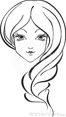 Girl with braid clipart.