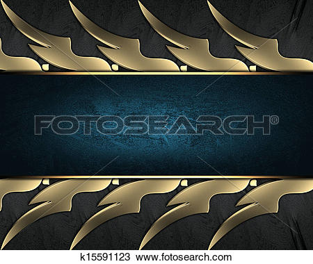 Drawing of Black braided texture with golden edges with blue.