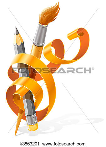Clipart of art tools pencil and brush braided by orange ribbon.