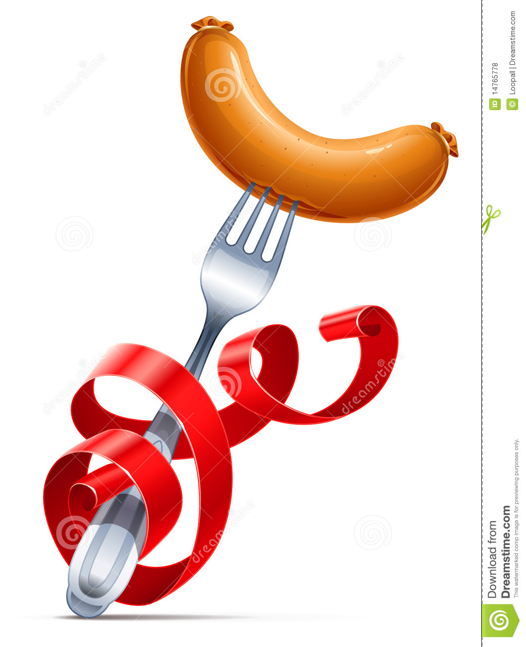 Fork With Sausage Braided By Red Ribbon Royalty Free Stock Photos.