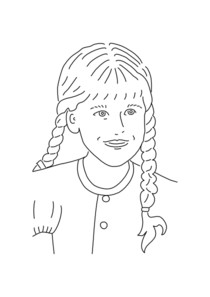 Girl with braids clipart.