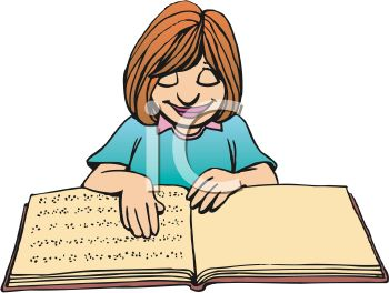 Cartoon of a Blind Girl Reading a Book in Braille.