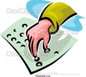 person reading Braille Vector Clip art.