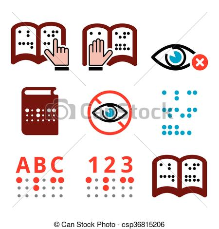 Vector Clipart of Blind people, Braille writing.