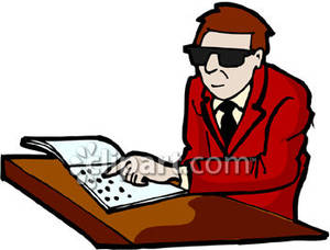 Man Reading Braille Royalty Free Clipart Picture.