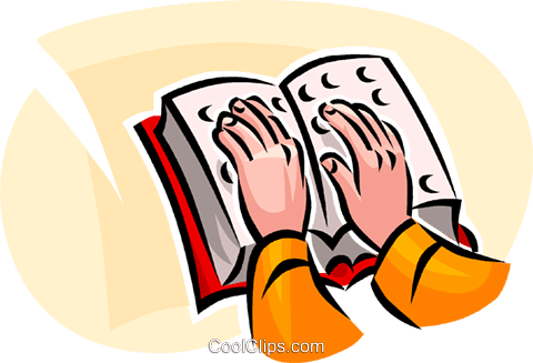 person reading a Braille book Royalty Free Vector Clip Art.