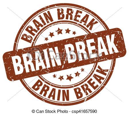 brain break brown grunge stamp.