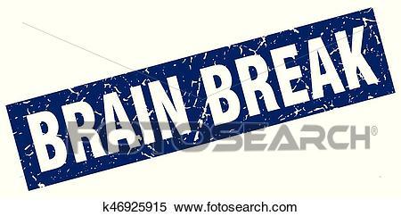 Square grunge blue brain break stamp Clipart.