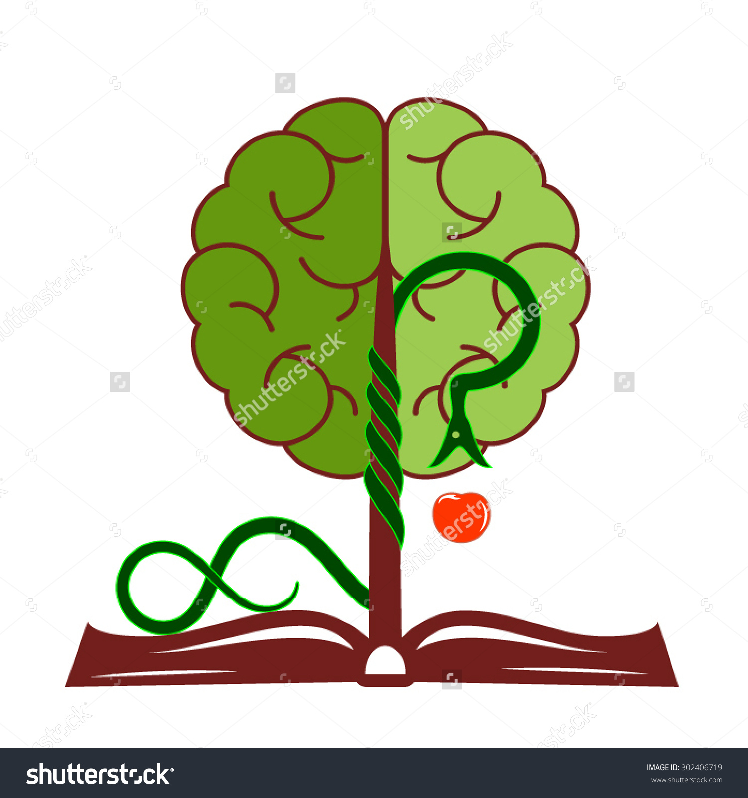 Tree Of Knowledge With Foliage In The Form Of A Brain, Growing.