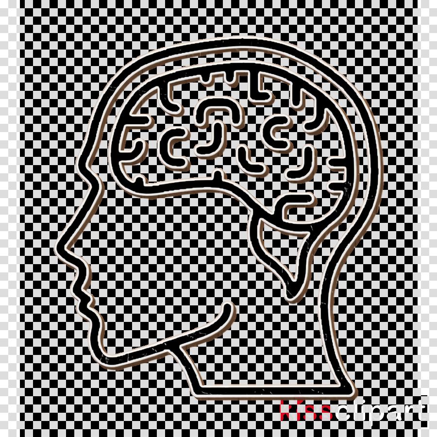 Human mind icon Brain icon clipart.