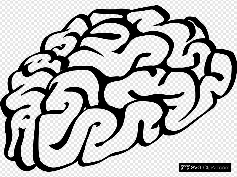 Cartoon Brain Outline Clip art, Icon and SVG.