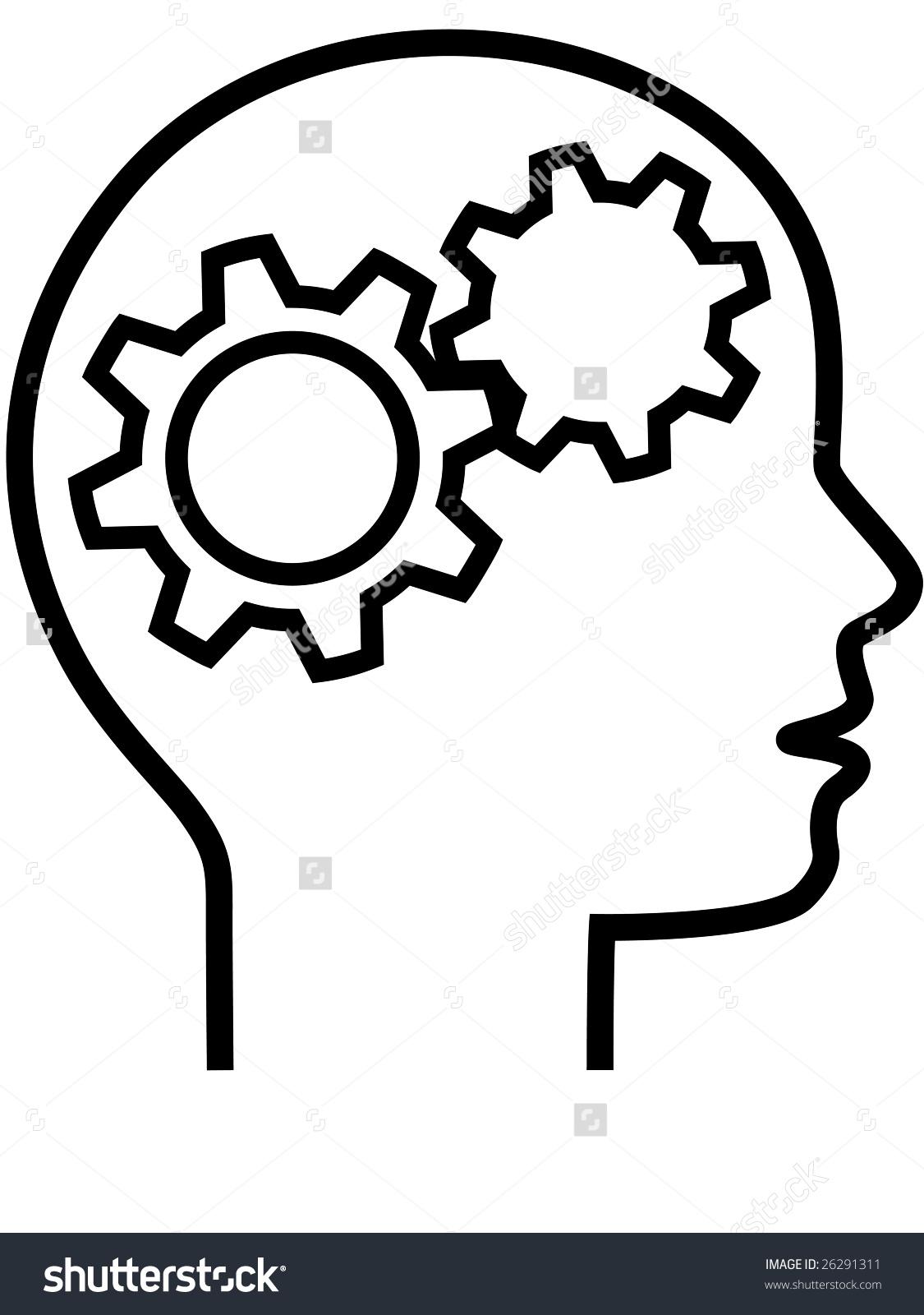 Thinker Inventor Gear Head Brain 2 Stock Vector 26291311.