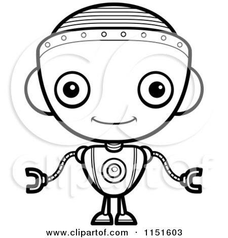 Cartoon Clipart Of A Black And White Robot Girl Facing Forward.