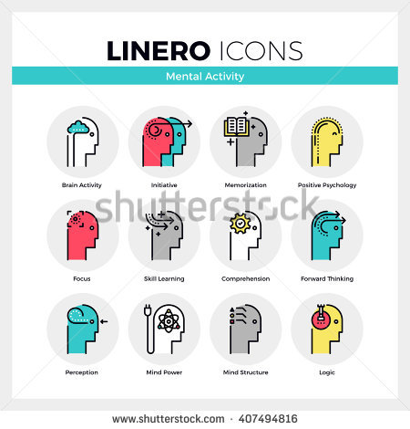 Line Icons Set Human Mental Activity Stock Vector 407494816.