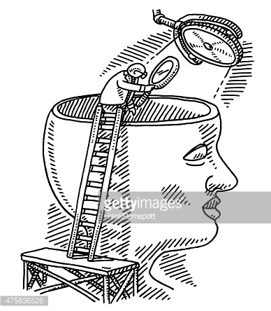Brain Research Science Concept Drawing Vector Art.