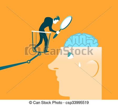Vector Clip Art of Brain Research. Closer inspection. Testing.