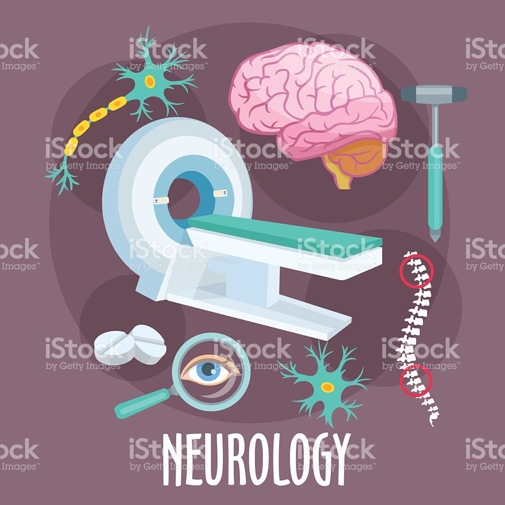 Neurology Flat Symbol With Brain Research Icons stock vector art.