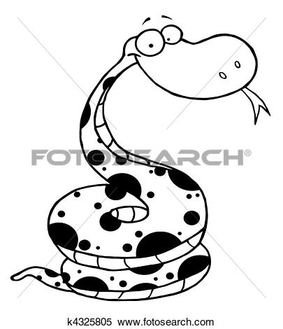 Clipart of Black And White Happy Viper k4325805.