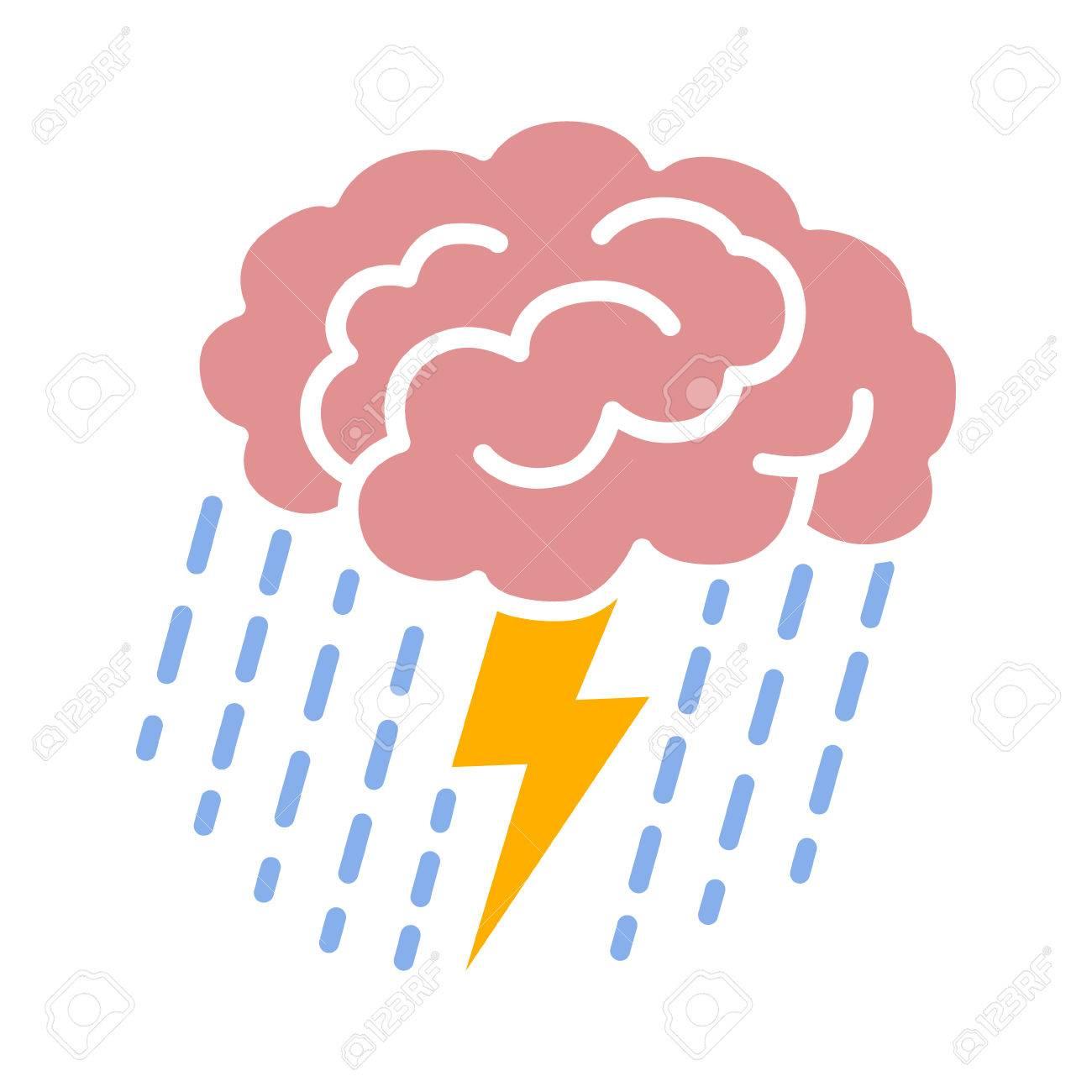 Brain brainstorm / brainstorming with lightning bolt and rain...