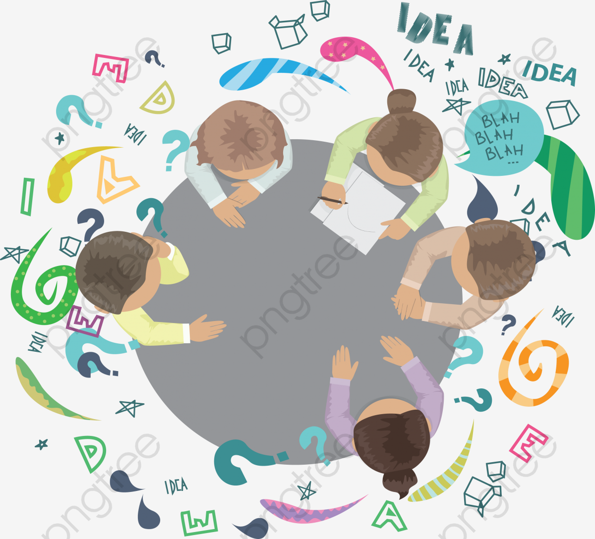 Brainstorming Members, Creative Geometry, Arrow, Gear PNG and Vector.