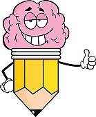 Clipart of Brain Cartoon Character k7115154.