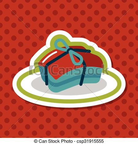 Clipart Vector of Chinese New Year flat icon with long shadow.