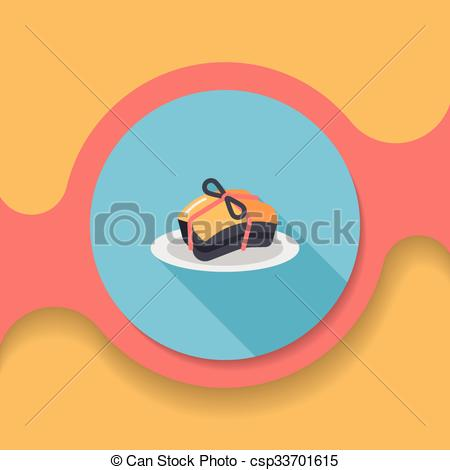Vector Clip Art of Chinese New Year flat icon with long shadow.