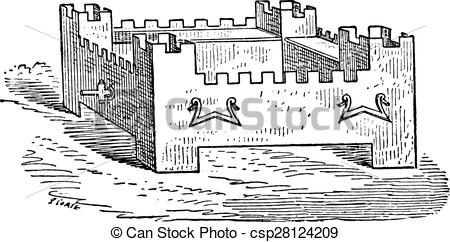 Vector Clipart of Braising shaped citadel, vintage engraving.