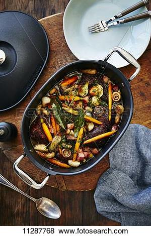 Pictures of Coq au vin in a braising dish 11287768.