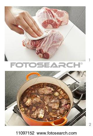 Stock Photo of Patting Dry and Braising Short Ribs 11097152.
