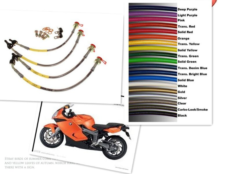 Motorcycle Racing Colored TEFLON/PTFE Steel Braided Brake Line.