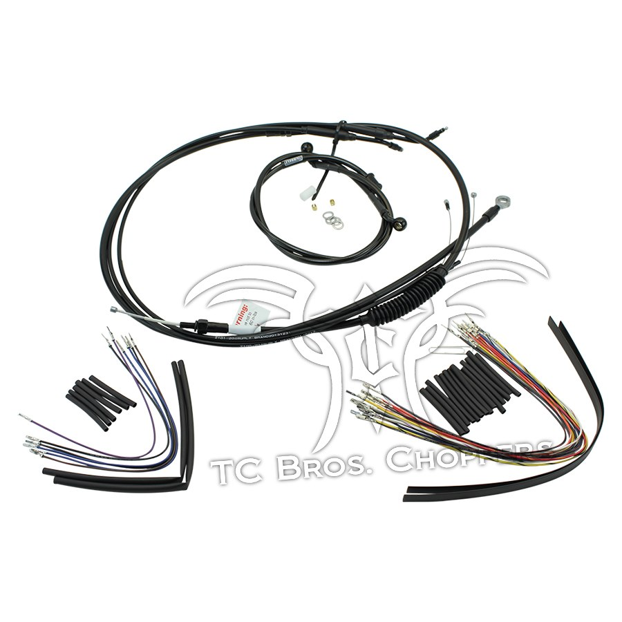 "Extended Cable / Brake Line Kit For 12"" Ape Hangers Harley."